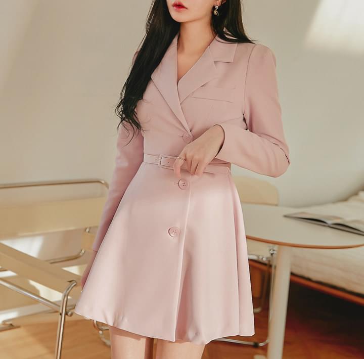 Belted Mini Coat Dress