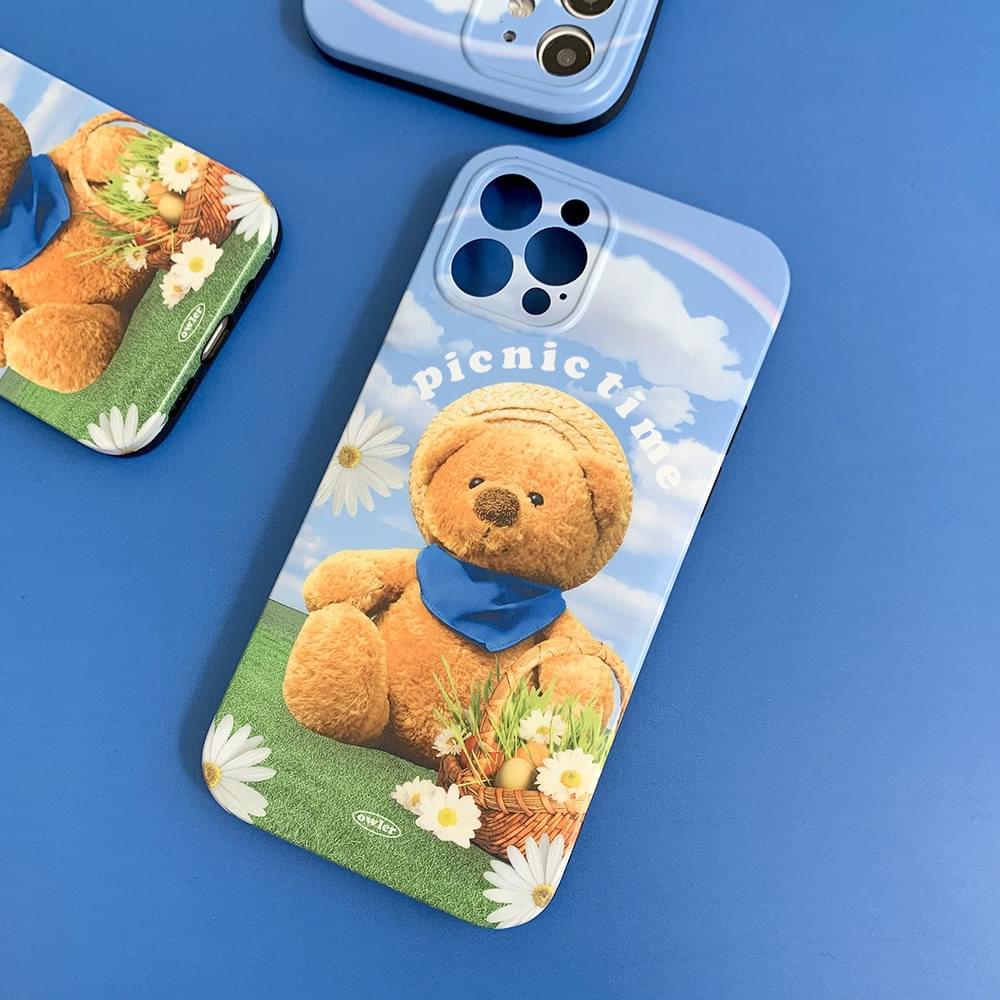 Window Picnic Teddy Bear Matte Jelly iPhone Case