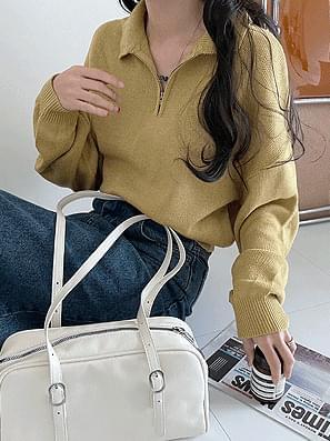 Half-zip Collar Crop Knitwear