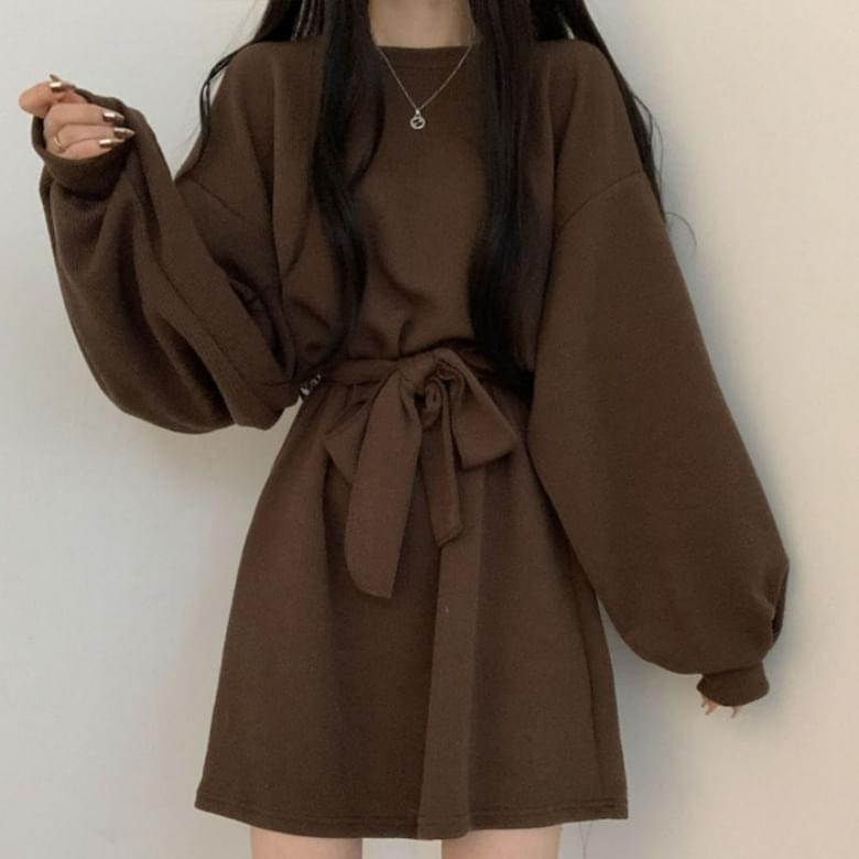 Cheek L simple puff sleeve Dress