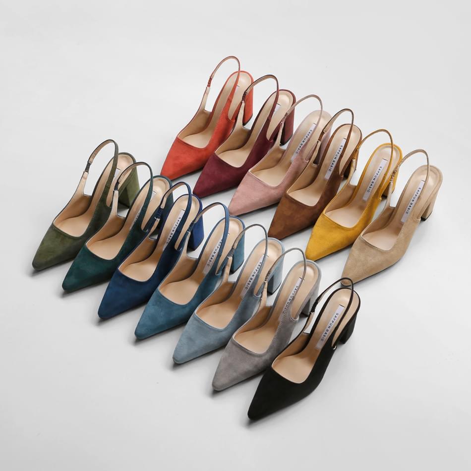 Merinon suede slingback heels