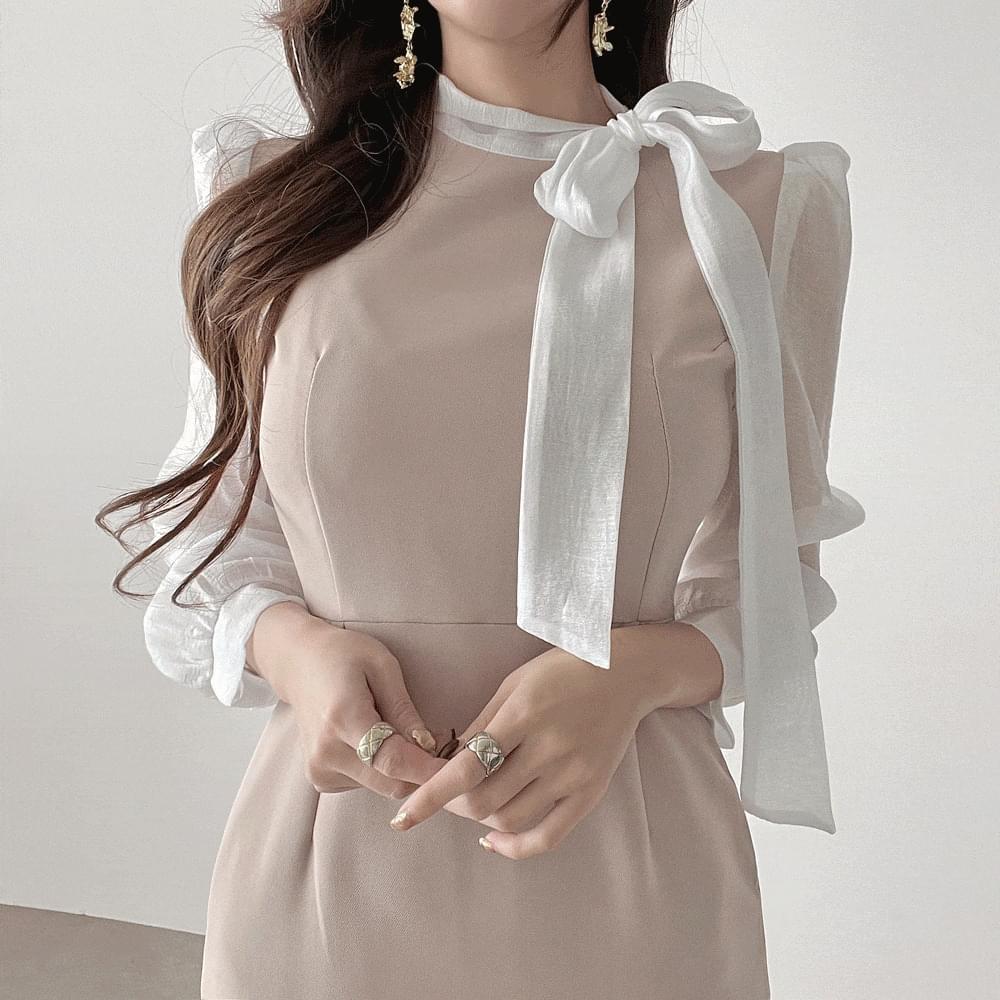 Long flight attendant side ribbon puff midi mermaid guest look Dress 3color