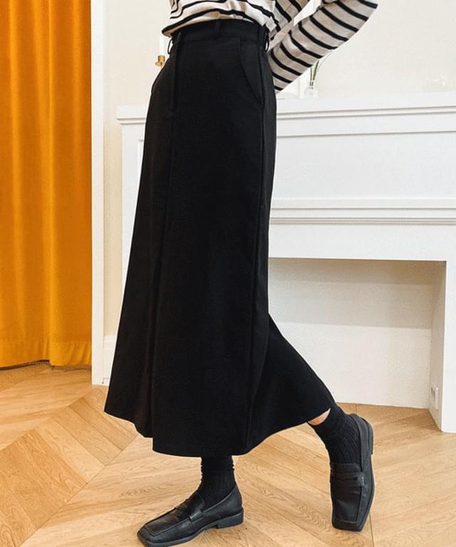 lacquered slit banding long skirt