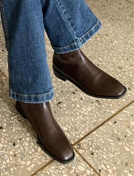 Hard Square Leather Ankle Boots