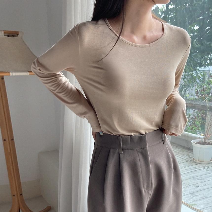 Silky Rayon Round Tea 長袖上衣