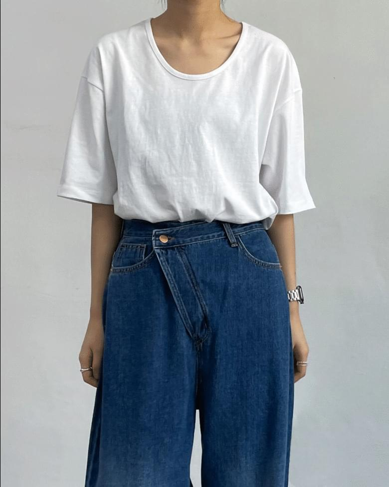 Faded U Neck Overfit Short Sleeve T-shirt