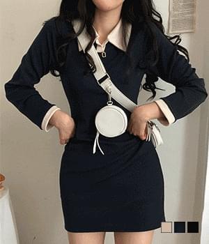 Nami color matching collar Dress