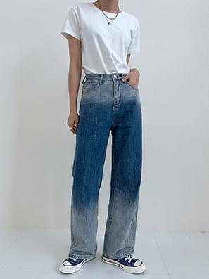 Double Gradient Denim Wide Pants