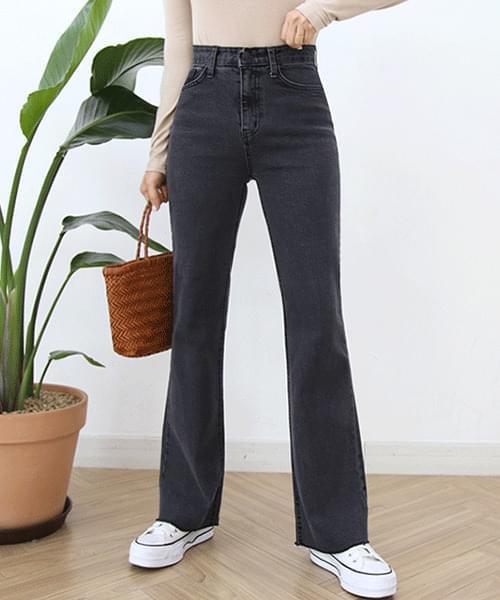 Black Denim Spandex Long Flared Jeans