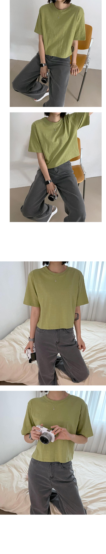 slab loose fit cropped short sleeve tee