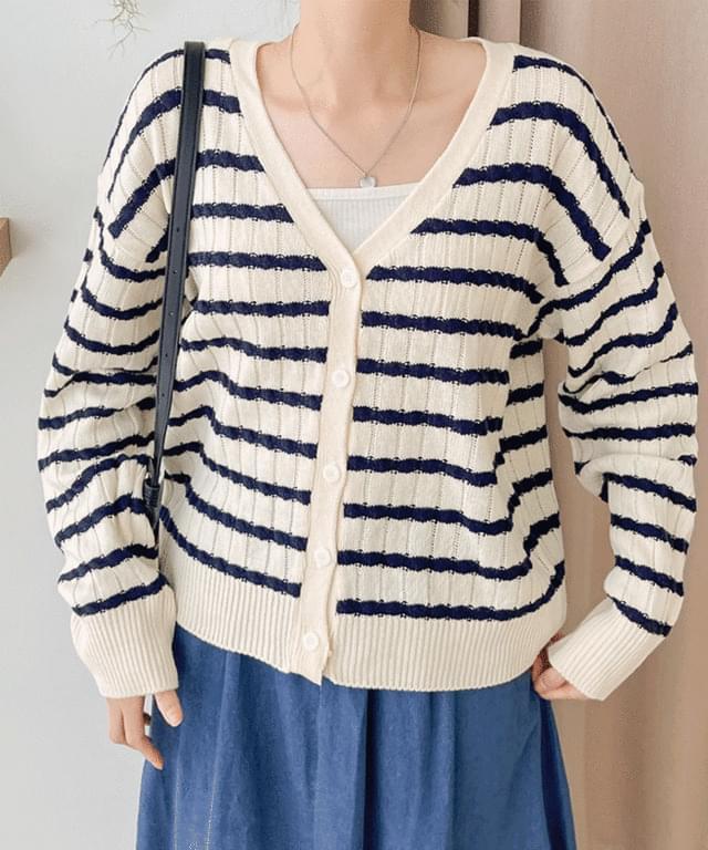 Big Size 55-88 Cosen Stripe Twisted V-Neck Cardigan