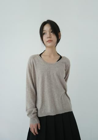 raglan wide-neck knit top