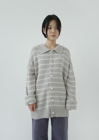 over-fit stripe knit cardigan