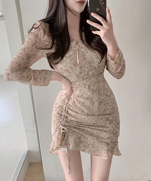 Fluffy wrap V-Neck shirring ruffle mini long-sleeved Dress