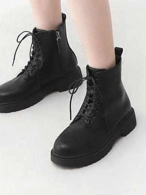 Round Nose Lace-Up Side Zip Ankle Worker Boots 9162