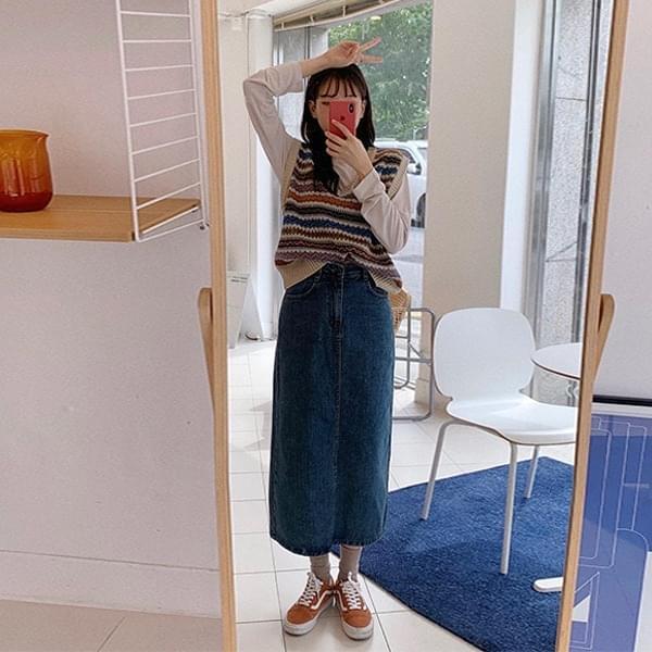 carpet denim long skirt