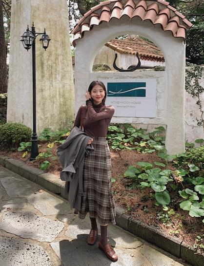 nerven check long skirt