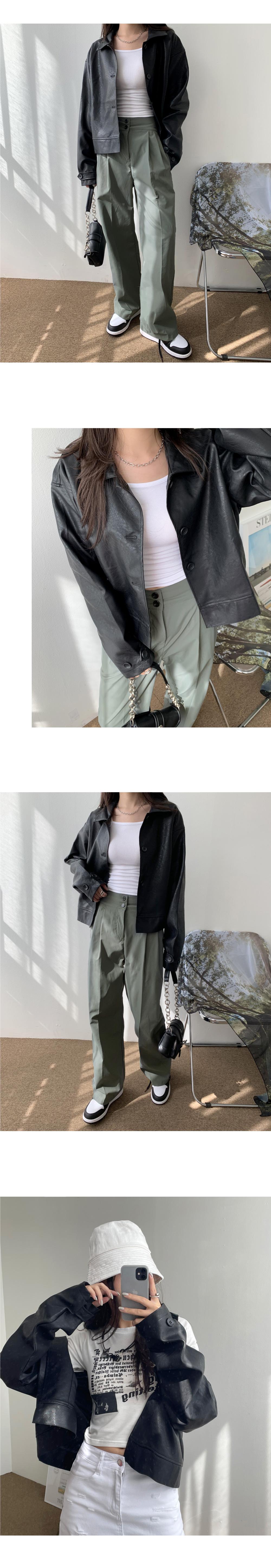 簡單鈕釦皮革夾克