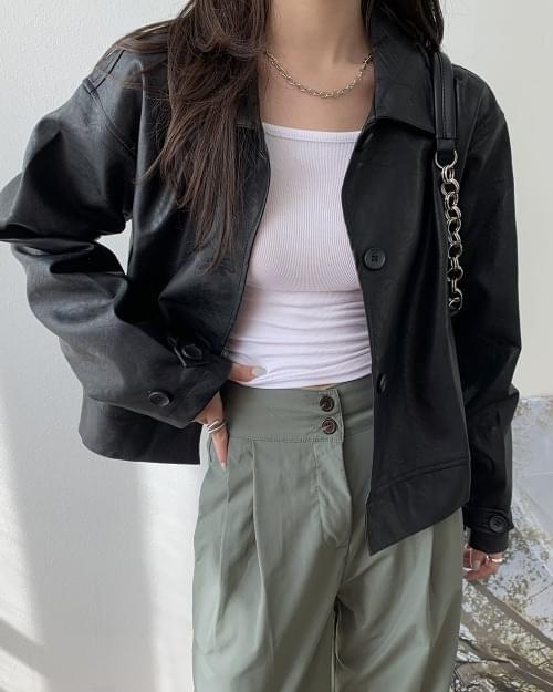 Longe single matte leather jacket