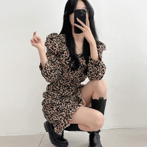 Ruffle Leopard Hopi Sheepskin Waist Strap Square Long Sleeve Mermaid Dress 3color