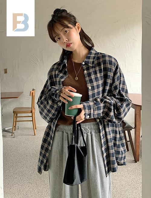 헤링본체크 베이직셔츠 (2color)