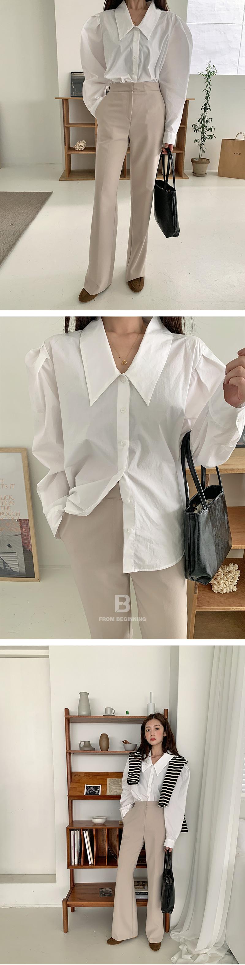 Cotton puff sharp collar blouse