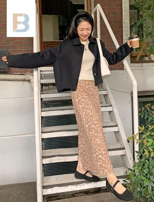leopard flared long skirt