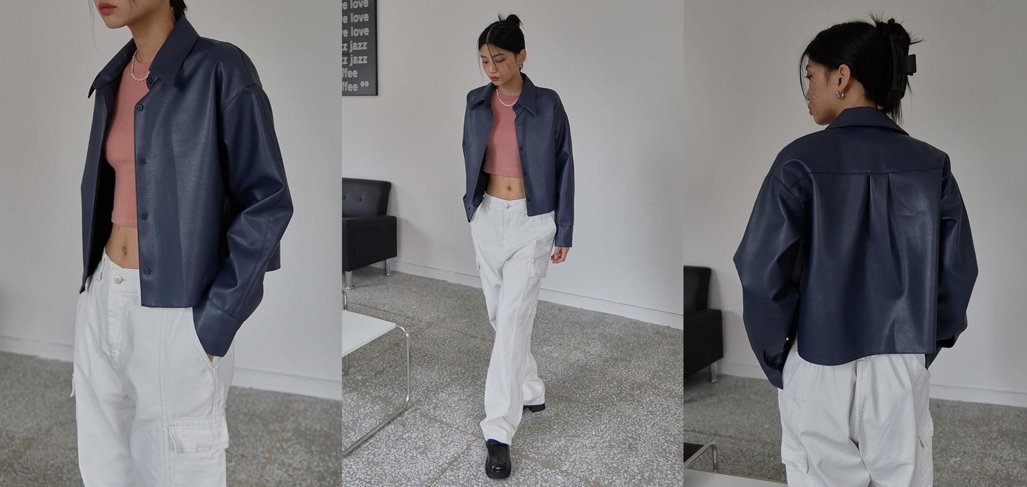 Een Leather Shirt Jacket