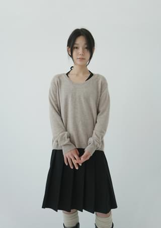 cotton midi pleats skirt