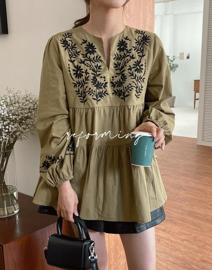 reforming embroidered blouse