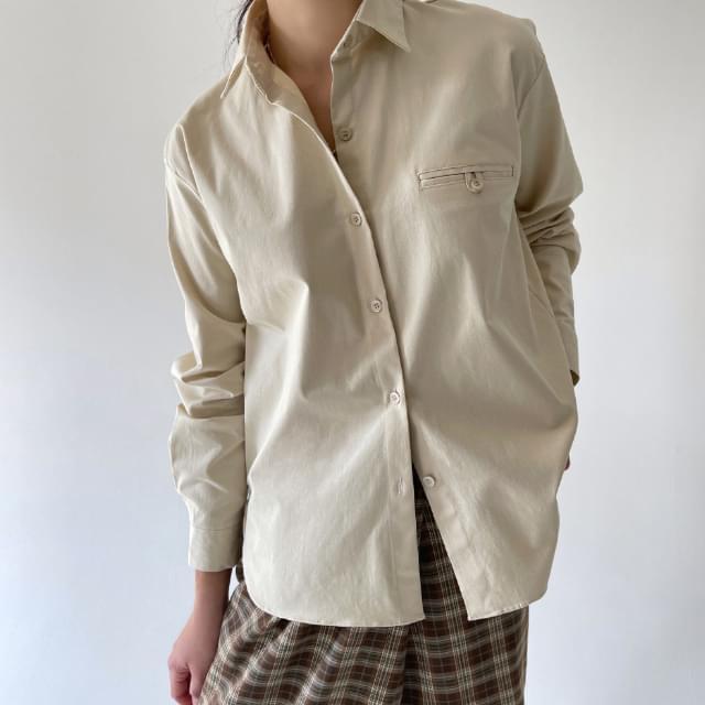 Flip Pocket Shirt - Beige 襯衫