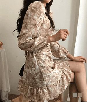 Marble Flower Shirring Mini Dress