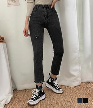 One-piece thigh denim pants
