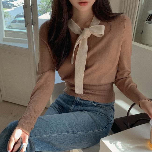 First Love Image Ribbon Blouse Knitwear 針織衫