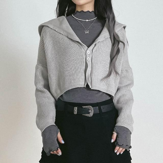 Cropped Beans Knitwear Cardigan