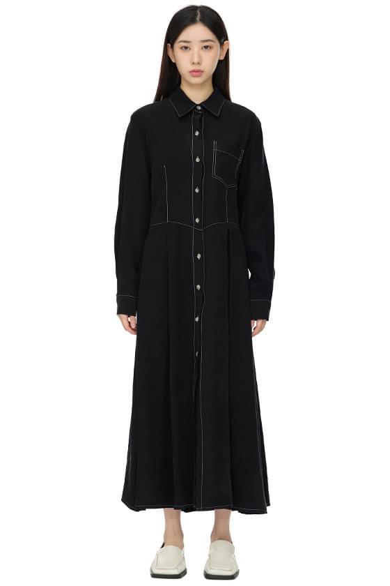 border line pocket shirt long dress