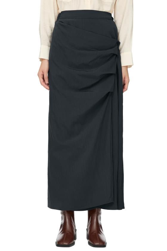 noir shirring long skirt