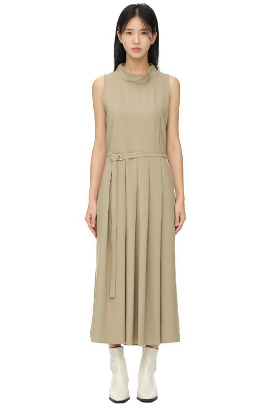 mood pleated belt long dress