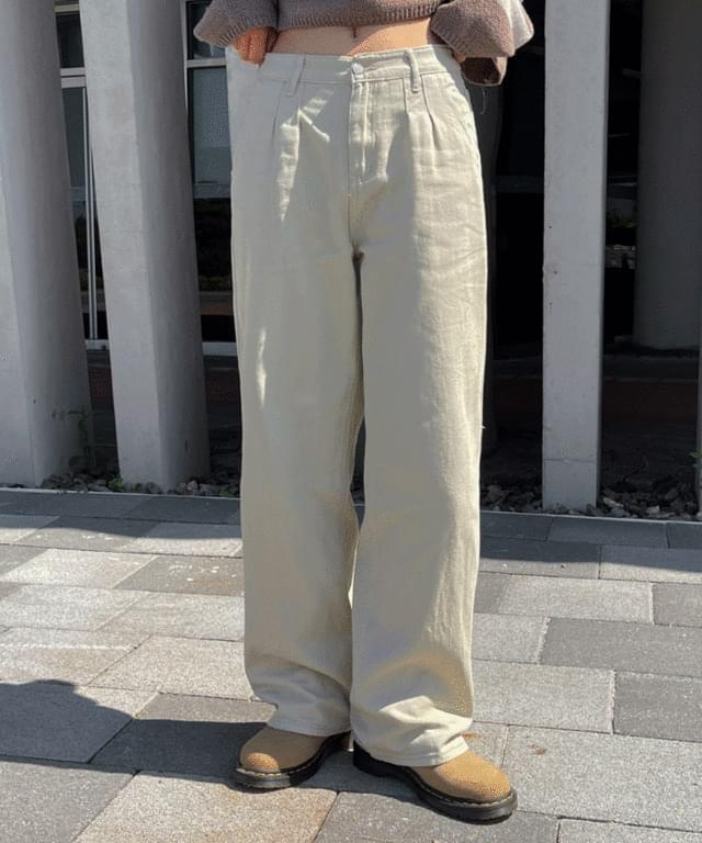 Curry's Pintuck Wide Cotton Pants