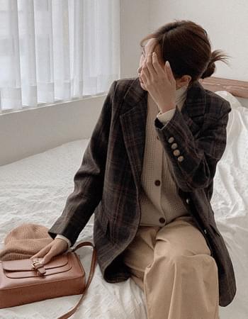 mood check three button check jacket