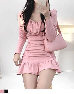 Yona Shirring Square Neck Dress
