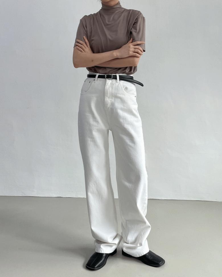 Roll Up High Waist Long Wide Pants