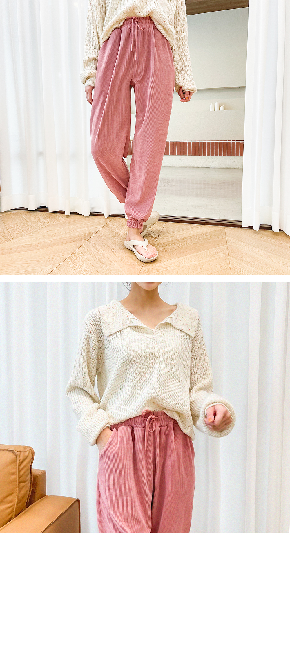 Big Size 55-88 Cotton Candy Open Collar Knitwear