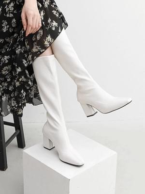 Semi-Square Nose Back Zip High Heels Slim Long Boots 11104 ♡Second Sold Out♡