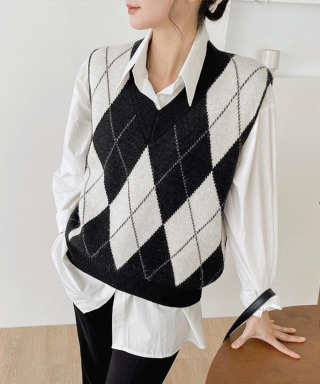 Big Size 55-77 Kelpie Argyle V-Neck Knitwear Best