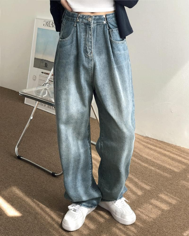 Tavern Buckle Vintage Wide Denim Trousers (人氣商品配送延遲) 牛仔褲