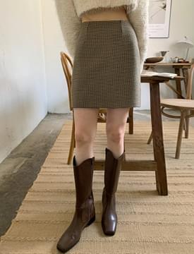 Vintage Check Slim Mini Skirt
