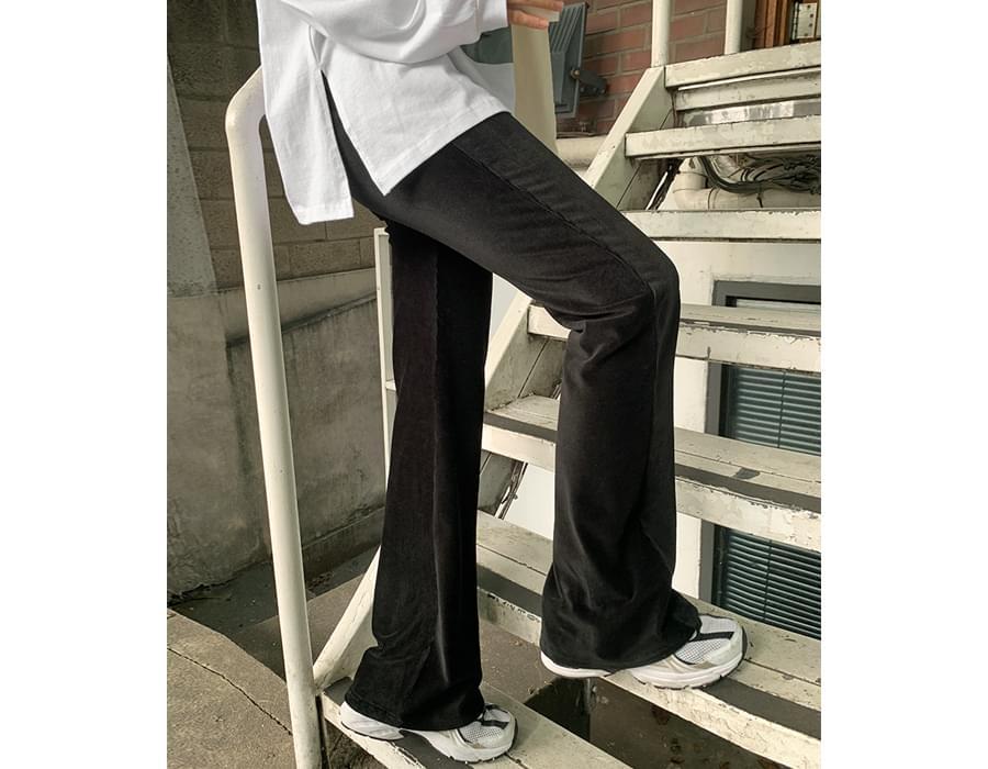 Soft velor banding Flared pants 長褲