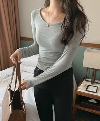 Amat U-neck long-sleeved tee