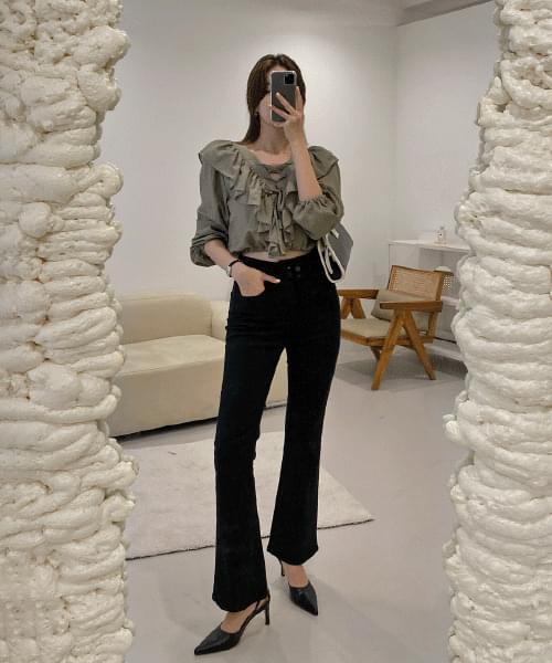 Four high-button Flared pants - 2color